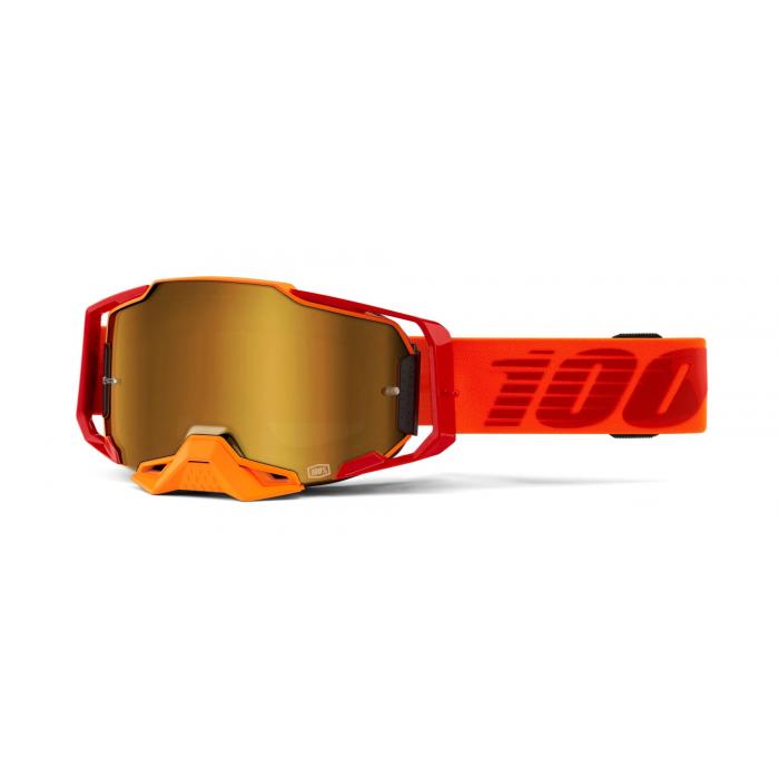 Motokrosové brýle 100% ARMEGA Litkit oranžové (zlaté plexi)