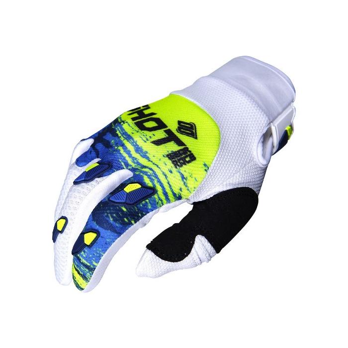 Motokrosové rukavice Shot CONTACT Counter modro-bílo-fluo žluté