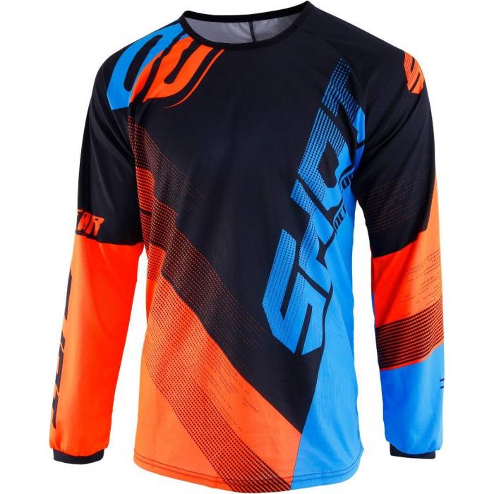 Motokrosový dres Shot DEVO Ultimate modro-fluo oranžový