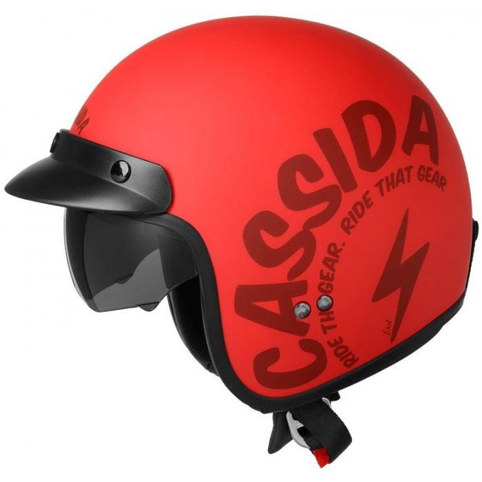 Otevřená přilba na motorku Cassida Oxygen Gear červeno-černá